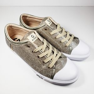 G Guess Oona Sneakers 10 Gold Sparkle Glitter Shoe